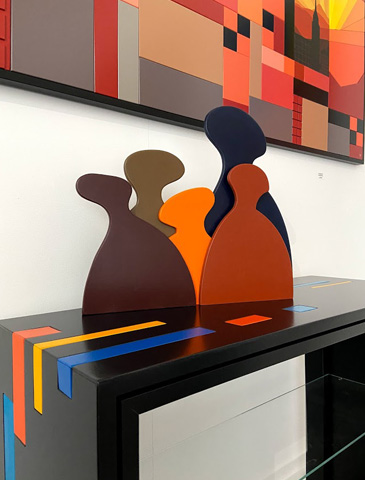 painted wood sculpture